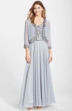 J Kara Beaded Chiffon Gown with Jacket available at #Nordstrom