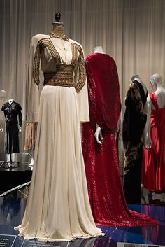 The stunning evening gown worn by Katharine Hepburn in 'The Philadelphia Story' (1940) on exhibition.