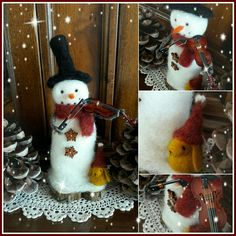 Needle felted snowman by Thedustyrabbit