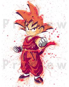 Watercolor Painting Dragon Ball Z Kid Goku. by RightClickSaveAs