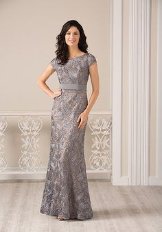Lace mother of the bride dress with bateau neckline | Jade | Style: J185002
