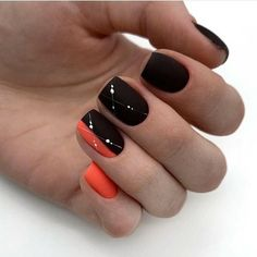 Black manicure fashionable design of nails and . Black Manicure, Manicure Y Pedicure, Minimalist Nails, Cute Pink Nails, Pretty Nails, Square Nail Designs, Nail Art Designs, Nailart, Gel Nagel Design
