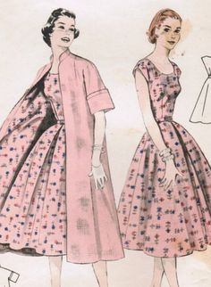 Vintage 1955 Butterick 7278 Sewing Pattern Misses' Dress and Coat Coordinates Size 12 Bust 30