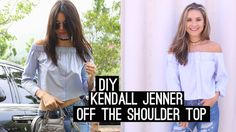 DIY: Kendall Jenner Off The Shoulder Top | Get The Look! (STYLE WIRE) Sewing Patterns For Kids, Sewing For Kids, Sewing Clothes, Diy Clothes, Diy Tops, Bardot Top, Shirt Refashion, Get The Look, Kendall Jenner