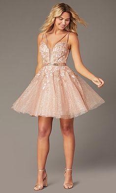 Short Jovani Babydoll Homecoming Dress in Blush - myeasyidea sites Pink Semi Formal Dresses, Neon Prom Dresses, Sweet 16 Dresses, Blush Dresses, Event Dresses, Dance Dresses, Cute Dresses, Beautiful Dresses, Short Dresses