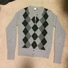 J. Crew gray argyle cardigan 100% cashmere size XS. In great shape, only worn a few times. J. Crew Sweaters Cardigans