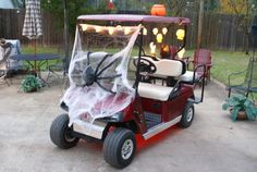 Halloween Golf Cart Ideas   Added diamond plate trim and then decorated for Halloween...