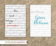 Bookplates - Modern Scribble Personalized Name Plates. $18.00, via Etsy.