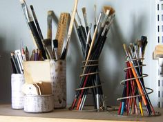 Repurpose vintage old bedsprings into paint brush or pencil holders.  Upcycle, Recycle, Salvage bed springs.
