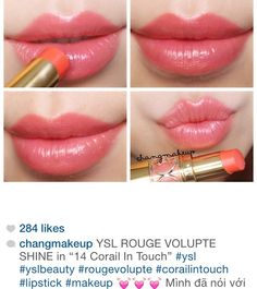 YSL ROUGE VOLUPTE SHINE in 14 Corail in touch