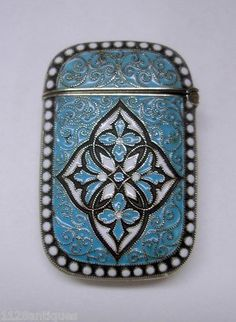 David Andersen Norway Sterling Silver Enamel Match Safe