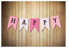Chevron Birthday Party Banner PRINTABLE Happy by LaneLoveDesign, $5.00