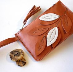 Leather Phone Case Clutch Wristlet RAW and RUSTIC by TheFigLeaf, $28.95