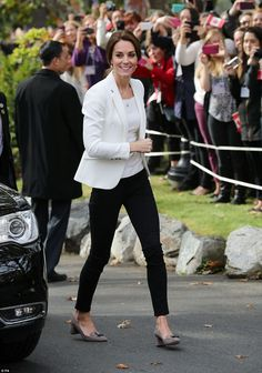 The Duchess of Cambridge looked chic today courtesy of the British High Street - sporting a Zara jacket and jeans on her last day of engagements in Canada