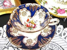 EARLY 1850'S RIDGWAY TEA CUP AND SAUCER COBALT BLUE FLORAL PAINTED TEACUP