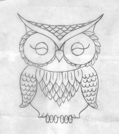 cute owl drawing tattoo
