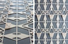 Geometric Papercut Peach and Grey Navajo by sarahlouisematthews, via Etsy.