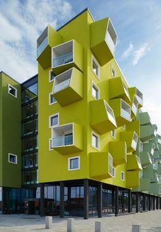 senior housing in Denmark by JJW Arkitekter Modern Architecture House, Facade Architecture, Residential Architecture, Amazing Architecture, Co Housing, Social Housing, Amazing Buildings, Building Facade, Facade Design