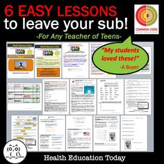 These substitute plans include 6 Easy-to-Teach, impacting Lessons for any subject 6th - 12th grade.  You and your middle or high school students will LOVE all six of these substitute lessons!! They're all teen issues that will engage and interest teens!!  ★Here are the topics:  1. Values  2. Self-Esteem  3. Risk Factors For Addiction  4. Why Teens Use Drugs  5. Healthy Eating  6. Healthy Versus Unhealthy Relationships Education Today, Health Education, Teacher Comments, Teen Issues, Sub Plans, High School Students, Science Activities, Self Esteem, Lesson Plans