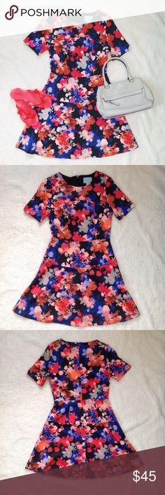 CeCe Floral Dress CeCe by Cynthia Steff floral dress. Zip back closure. Short sleeves. Above the knee. Flirty flared bottom.   Condition: Gently worn.   ◆If you'd like more pics or have questions, ask! 🚫NO TRADES🚫 CeCe  Dresses