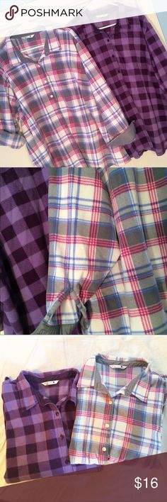 Plus size flannel bundle Falls coming so here is the perfect bundle for you!!  Two very pretty plaid flannel fleece button down tops. Rider by lee Tops Button Down Shirts