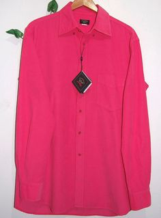 Paul & Shark Bright Pink Mens Italian Cotton Corduroy Shirt Size L  NEW #PaulShark