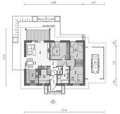 Projekt domu Kornel VI (z wiatą) energo - koszt budowy 165 tys. House Plans, Floor Plans, How To Plan, Dreams, Houses, House Floor Plans, Floor Plan Drawing, Home Plans
