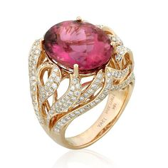 Summer ring with rubellite tourmaline accented with diamonds by YAEL DESIGNS