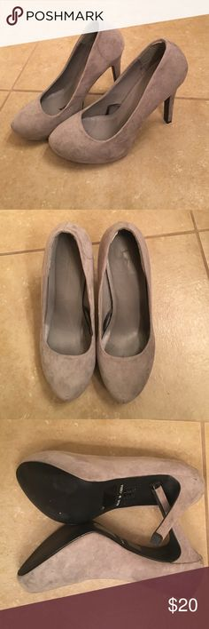 Gray suede material pumps Gray suede like material. Size 8. Forever 21. 4 inch heel. In good condition. These heels don't have original box. Forever 21 Shoes Heels