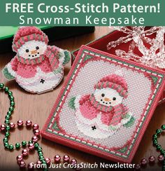 Snowman Keepsake Download from Just CrossStitch newsletter. Click on the photo to access the free pattern. Sign up for the newsletter here: AnniesNewsletters.com
