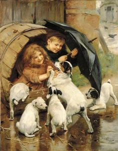 """MaryJanesFarm - Ranch Farmgirl blog. Early litho print of a Rat Terrier and her puppies. This breed is the perfect """"farmstead"""" dog, an excellent poultry guard and the BEST mouser in the universe."""