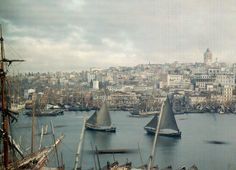 The Golden Horn at Galatea in Constantinople, now modern-day Istanbul. Photograph by Jules Gervais Courtellemont, National Geographic