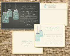 Custom Mason Jar Wedding Invitation - Rustic Mason Jar Invitation Customize colors. $1.75, via Etsy.