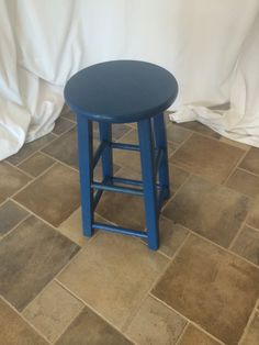 Blue wood stool