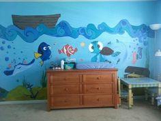 Hand painted nursery wall mural.