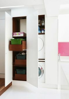Concealed laundry in the kitchen.