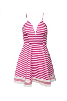 This adorable dress is perfect for any special occasion - from a casual date night to an evening beach party! Featuring white and pink stripes, this racerback dress is versatile and easy to wear. You can add a cardigan on cooler nights or pair with wedges to dance the night away! There's also a zipper in the back, spaghetti straps, and a low-cut neckline. Our favorite detail is the stripe of sheer pink mesh near the bottom hemline! (We even have a matching Monogrammed Hot Pink Floppy Hat to…