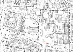 Kevin Street in the late century (Ordnance Survey of Ireland) Dublin Street, Dublin City, Old Photos, 19th Century, Palace, Cathedral, Medieval, Ireland, History