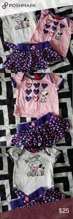 Baby girls 3 piece outfit Adorable baby girl 3-piece peanut Snoopy outfit. Size 3 months. In great condition no stains. Matching Sets