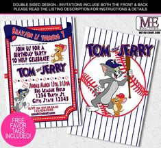 Tom and jerry baseball invitations tom amp jerry invitations baseball