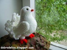 Dobrodelitsa: Dove Haak Master Class, free pattern, #crochet, amigurumi, (Google translate), #haken, duif, huwelijk, trouwen