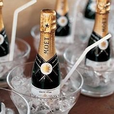 chilled mini champagne bottles for when the bridal party is getting dressed - this will be a definite must on my wedding day! Mini Champagne Bottles, Mini Bottles, Champagne Toast, Champagne Bar, Champagne Buckets, Champagne Glasses, Champagne Breakfast, Bubbly Bar, Dream Wedding