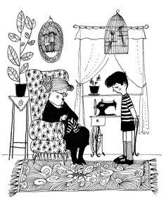 Illustration by Mirosław Pokora; Author: Mira Lobe; Title: Babcia na jabłoni