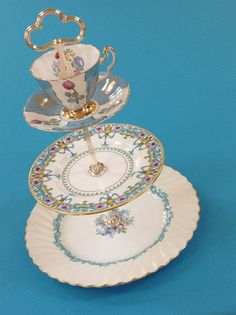 3 Tier Cake Stand Turquoise for Cupcakes by HelensRoyalTeaHouse