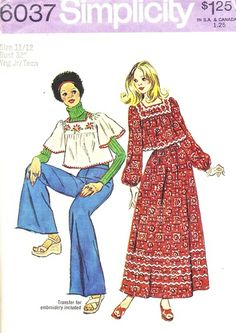 Simplicity Pattern 6037 Vintage 70's Cropped Peasant Blouse and Maxi Skirt + Embroidery Transfer - Complete Size 11/12 Bust 32