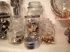 Plenty of glass containers to hold vintage treasures!