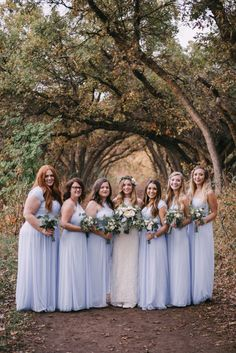 forest wedding, blue bridesmaid dresses_0129