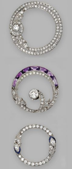 GROUP OF THREE COLORED STONE AND DIAMOND BROOCHES, CIRCA 1930. The diamond brooch set with old European-cut diamonds weighing approximately 2.25 carats, mounted in platinum; the amethyst and diamond brooch set with calibré-cut amethysts and old European-cut and single-cut diamonds weighing approximately 1.60 carats, mounted in platinum; and the sapphire and diamond brooch set with marquise-shaped, old European-cut and single-cut diamonds weighing approximately 1.00 carat, mounted in…