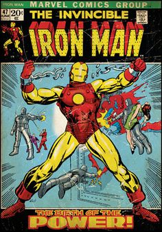 Drawing Marvel Comics Iron Man Comic Cover Giant Wall Decal - Bring home the action of Marvel Comics' heroic Iron Man with this giant wall decal. Measuring just under three feet high, this massive poster brings the cover of The Invincible Iron Man Comic Book Superheroes, Marvel Comic Books, Comic Books Art, Comic Art, Heroes Comic, Hulk Comic, Iron Men, Marvel Comics, Marvel Avengers
