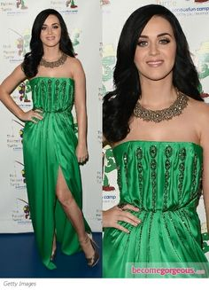 Gorgeous in green! Katy Perry in Yves Saint Laurent